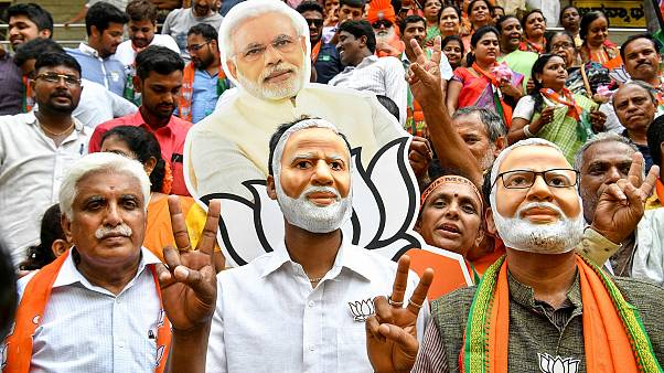 Image: Indian supporters and party workers of Bharatiya Janata Party (BJP)