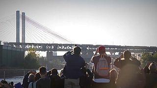 New York's old Kosciuszko Bridge blown to pieces in controlled demolition