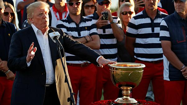 Trump dedicates a golf trophy to hurricane victims