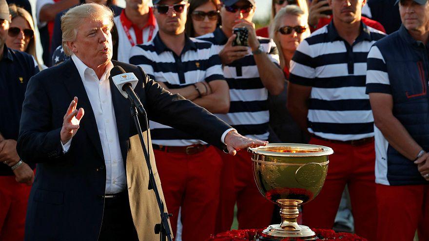 Trump dedicates a golf trophy to hurricane victims