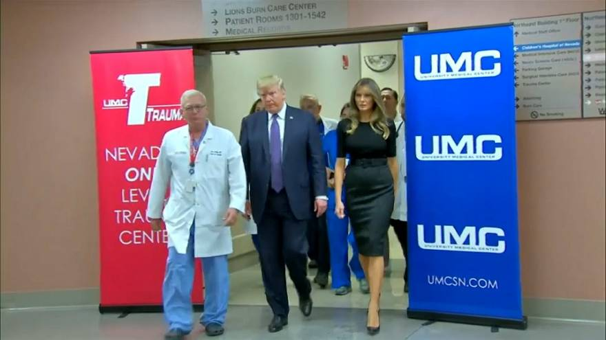 Trump visits victims of Las Vegas concert attack