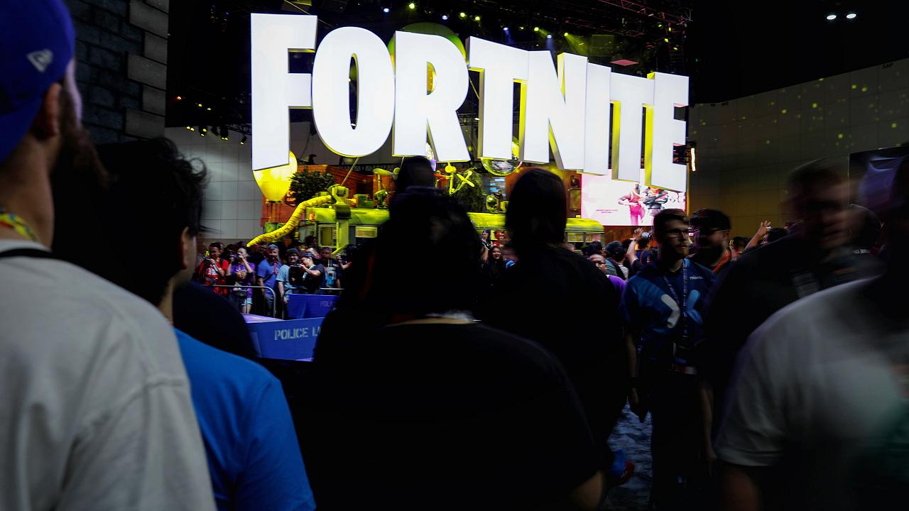 Image: A Fortnite booth at the E3 gaming convention in Los Angeles on June