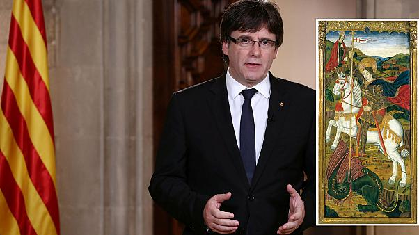 Sant Jordi matando al dragón ¿Respuesta de Puigdemont a Carlos III?