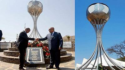 Zuma unveils monument where he was arrested in 1963, opposition protests