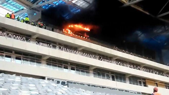 Incêndio num estádio do Rússia 2018