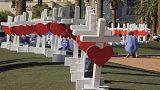 Кресты в память о погибших в Лас-Вегасе