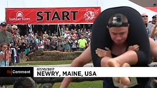 North American Wife Carrying Championship gets underway in Maine
