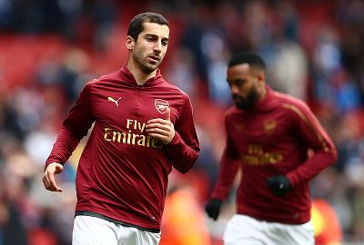 Mkhitaryan warms up before a match against Brighton earlier this month.