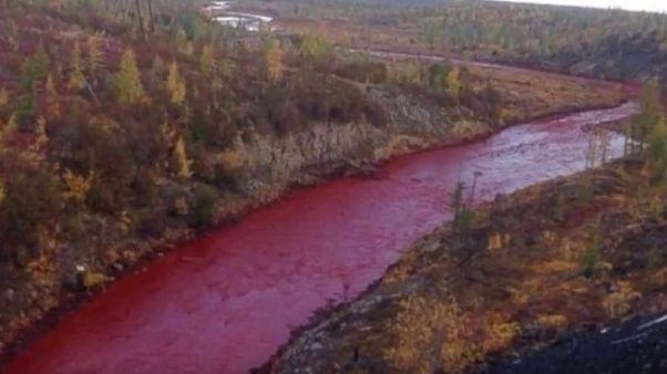 """بالفيديو: نهر """"الدم"""" في غانا يٌحيِّر السكان"""