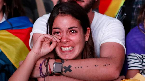 Barcelona crowds react to Puigdemont's Catalonia independence announcement