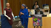 Nigerian Amina Mohammed interacts with Sophia the robot at the UN [Video]