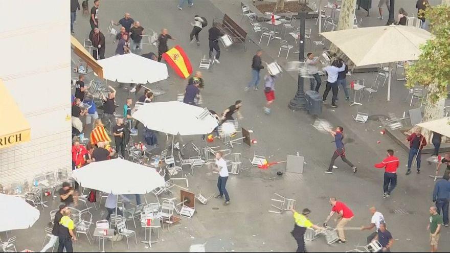 Violence on sidelines of Barcelona unity demonstration
