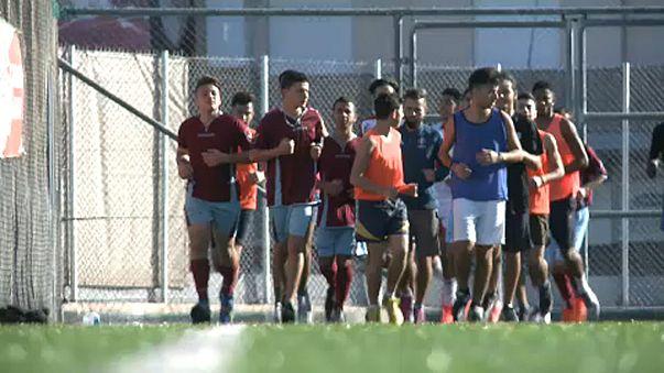 Refugiados com esperança no futebol