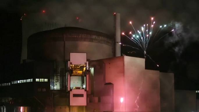 Watch: Activists light up fireworks at nuclear power plant