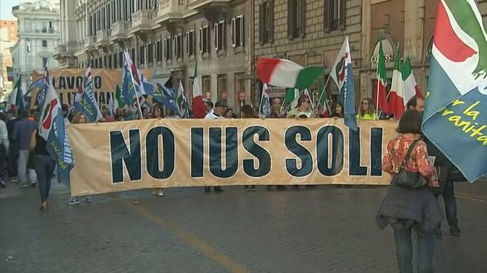 Protests against citizenship for migrant children in Italy