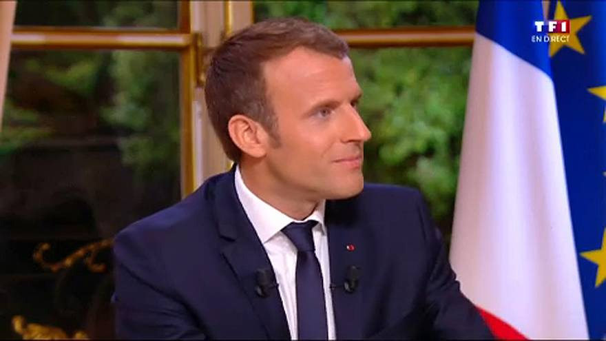 Macron gives first live TV interview