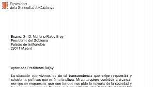 """""""Apreciado Presidente Rajoy"""" Carta completa de Carles Puigdemont al presidente del Gobierno"""