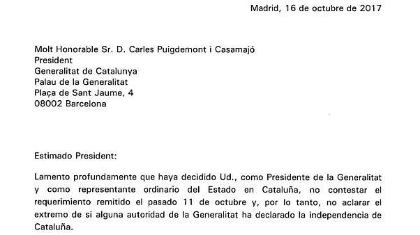"""""""Estimado President"""" Carta completa de Mariano Rajoy en respuesta a la de Carles Puigdemont"""