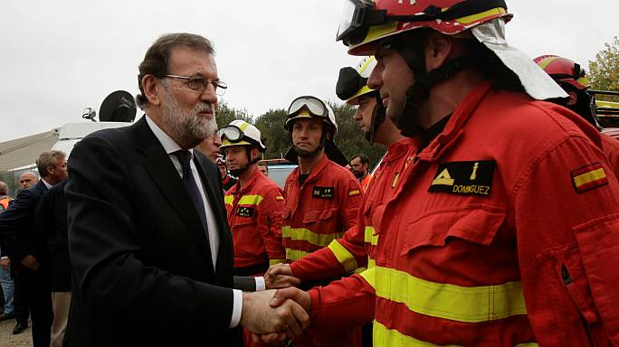 Rajoy afirma en su visita a Galicia que los incendios han sido provocados