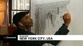 Σκιτσάροντας τον ορίζοντα της Νέας Υόρκης από μνήμης