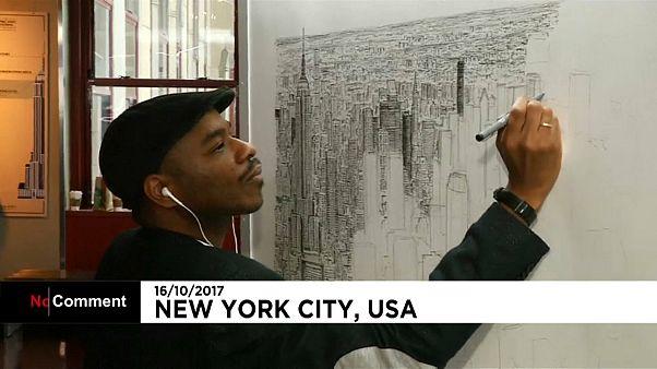 شاهد: بانوراما مدينة نيويورك على لوحة فنية شديدة الدقة