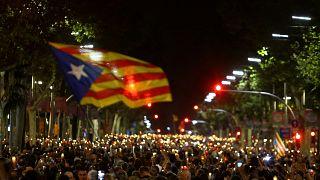 """Megaprotesta en Barcelona contra la encarcelación de """"los Jordis"""""""