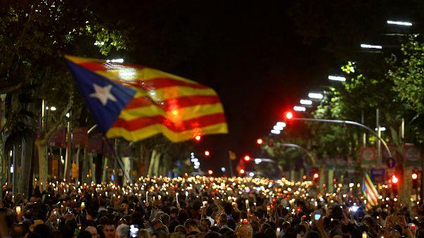 """Manifestation de soutien aux """"deux Jordis"""" à Barcelone"""