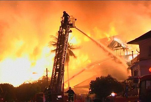 Fire guts luxury hotel in Yangon