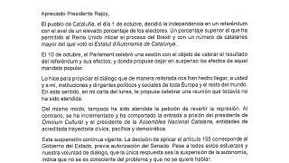"""""""Apreciado Presidente Rajoy"""" Carta completa de Puigdemont en respuesta al segundo plazo del Gobierno"""