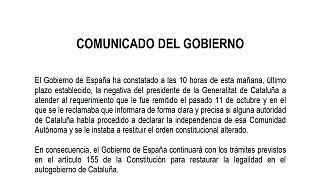 Comunicado completo del Gobierno en respuesta a Puigdemont