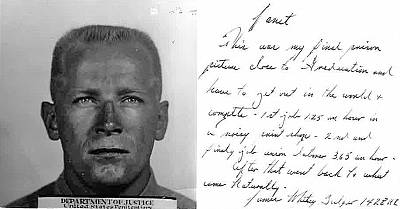 A photo with a note sent to Janet Uhlar from Whitey Bulger.