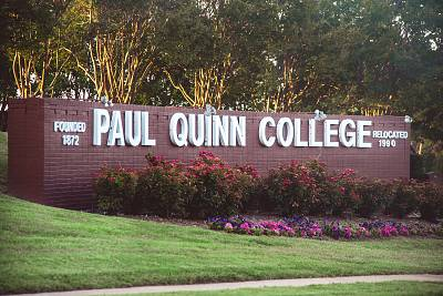 Paul Quinn College entrance sign.
