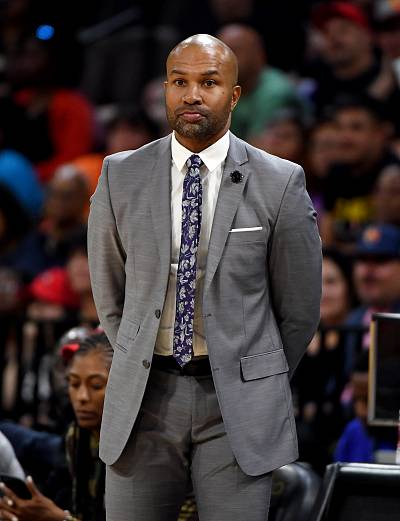 Los Angeles Sparks head coach Derek Fisher looks on during at game in Las Vegas on May 26, 2019.