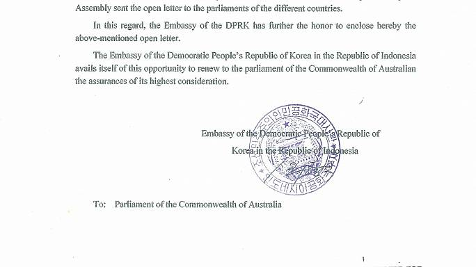 North Korea wrote letter to Australia asking for help against US