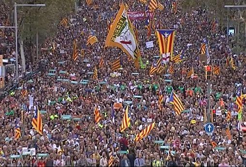 Массовая манифестация в Барселоне