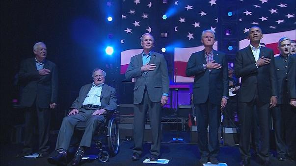 Ex-US presidents join forces for hurricane relief
