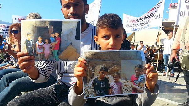Sakız Adası'nda göçmen protestosu