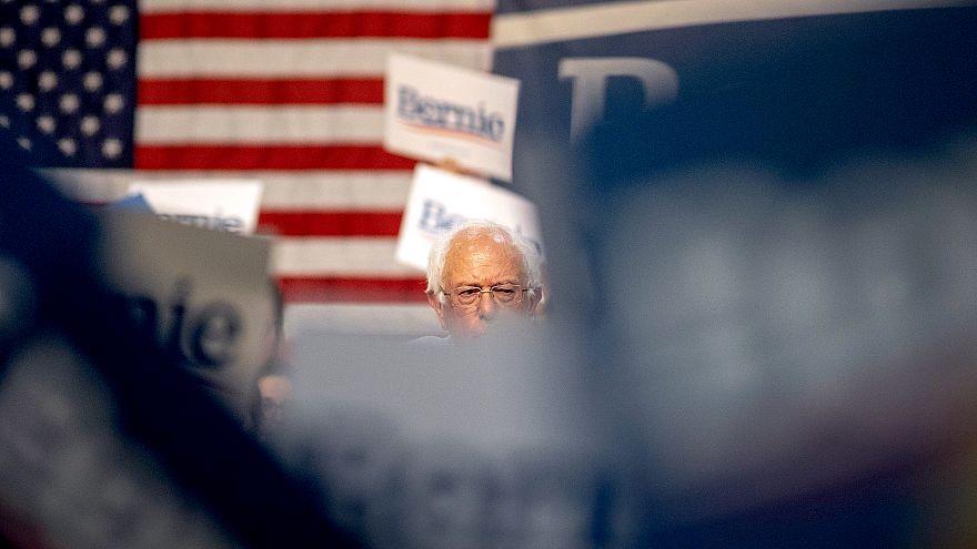 Image: Sen. Bernie Sanders at a campaign rally in Pasadena, California, on