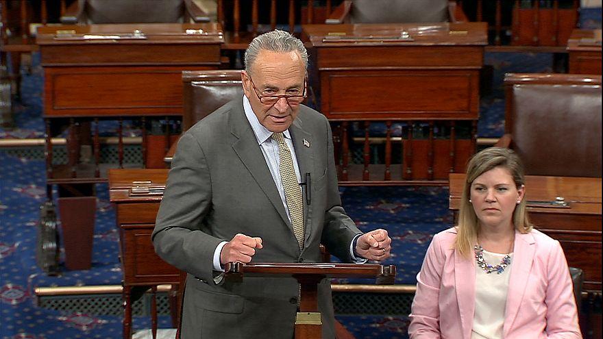 Sen. Chuck Schumer, D-N.Y., on the Senate floor Wednesday, where he urged h