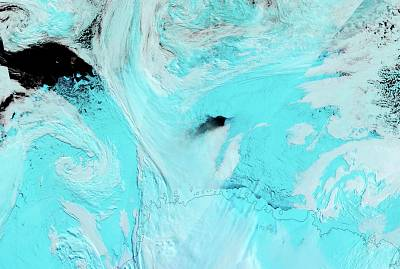 The hole in the sea ice offshore of the Antarctic coast was spotted by a NASA satellite on Sept. 25, 2017.