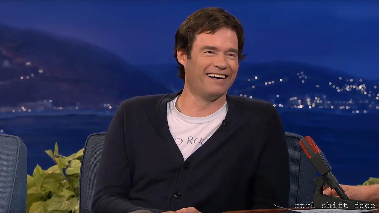 A still from a deepfake video in which Bill Hader slowly transforms into Ar