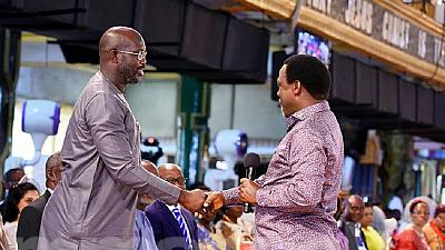George Weah Visits TB Joshua's Church Ahead Of Presidential Poll