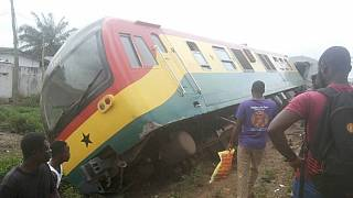 [Photos] Train derails in Ghana, injuries reported