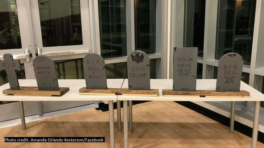 School apologizes for Trump tombstone