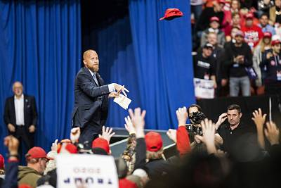 Brad Parscale tosses a hat to the crowd ahead of a rally in Green Bay, Wisconsin, on April 27, 2019.
