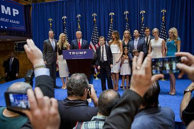 Donald Trump stands with family members after announcing his candidacy at Trump Tower in 2015.