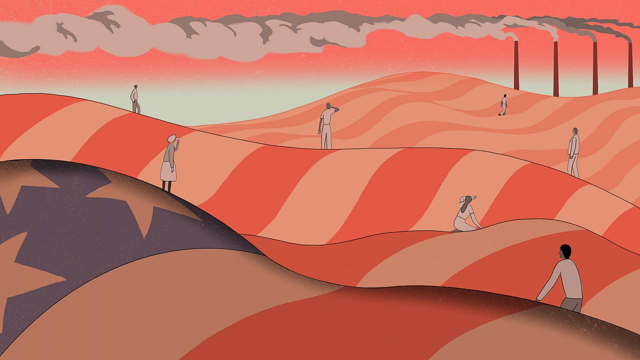 Illustration of overheated people standing on hills made of the American fl