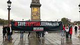 Protesto na visita oficial do presidente egípcio a França