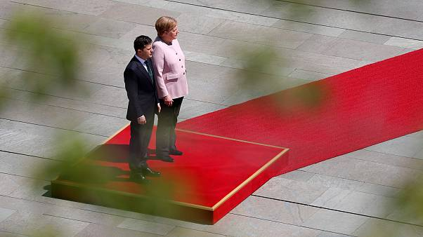Image: German Chancellor Angela Merkel and Ukrainian President Volodymyr Ze
