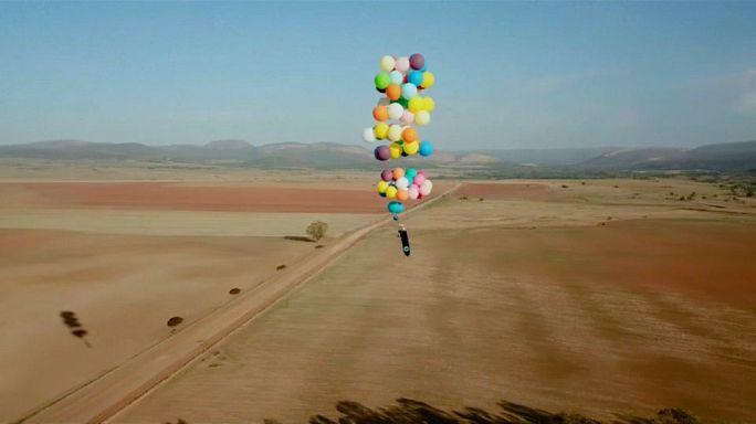 Balloon chair floats two kilometres up
